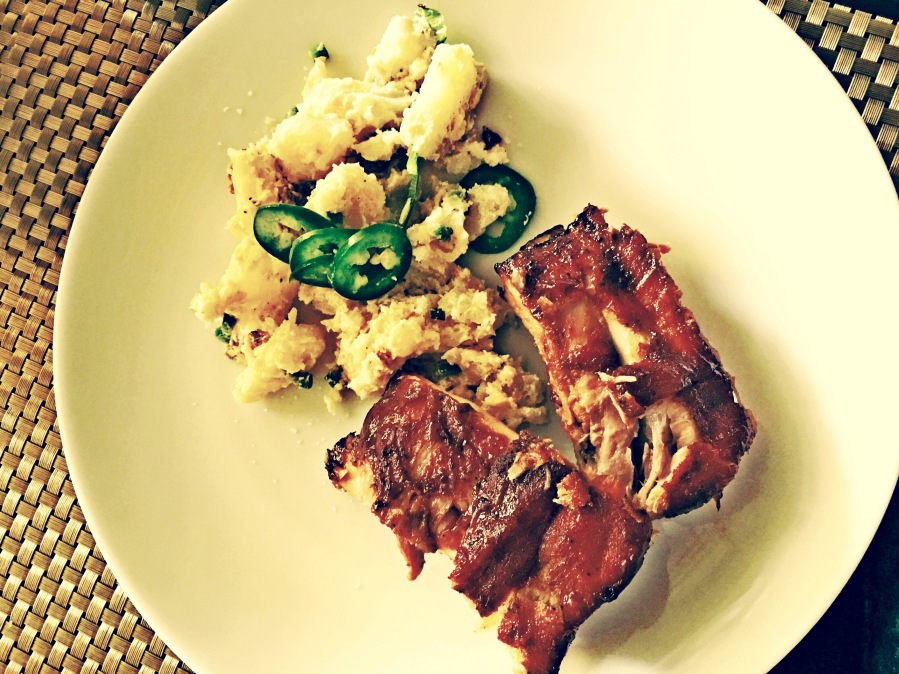 Delicious Pork Spare Ribs & Jalapeño Popper Potato Salad